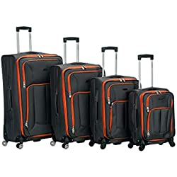 Rockland 4pc Impact Spinner Luggage Set, Charcoal