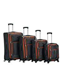 ROCKLAND F155-CHARCOAL 4PC Impact Spinner Luggage Set, Charcoal, One Size