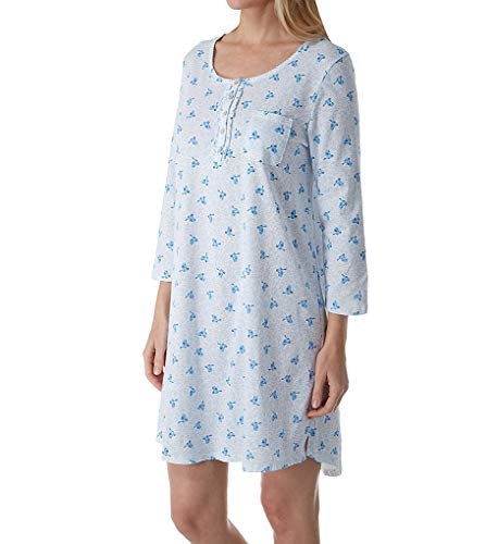 (Carole Hochman Women's Three-Quarter Sleeve.Sleepshirt Blue Birds Large)