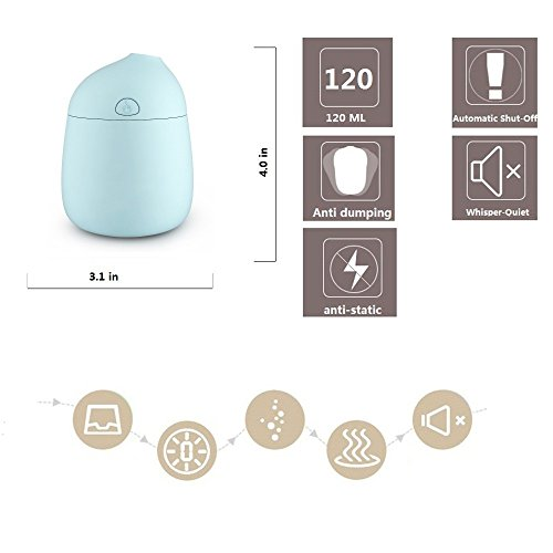 Novth Mini Humidifiers with Whisper-Quiet Operation, Automatic Shut-Off, 120ml Nano Mist Humidifier for Bedroom Baby room Home Office Car Study Yoga Spa,Easy to Clean (blue) by Novth (Image #1)