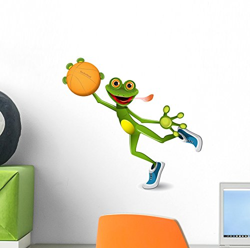(Wallmonkeys Frog Basketball Wall Decal Peel and Stick Graphic (12 in W x 12 in H) WM17556)