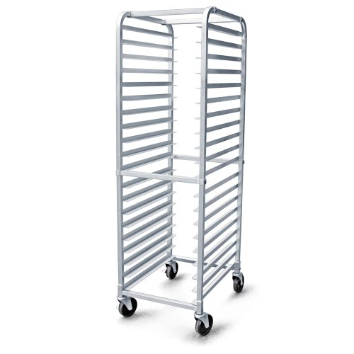 "New Star Foodservice 36527 Commercial-Grade Aluminum 20-Tier Sheet Pan/Bun Pan Rack, 26"" L x 20"" W x 69"" H with Brake Wheels"