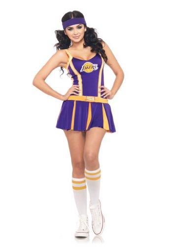 Cheerleader Piece Dress 2 (Leg Avenue NBA 2 Piece Lakers Cheer Dress, Purple/Gold, Small/Medium (S/M, P/M))