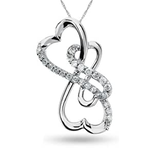 Forever Heart , Sterling Silver and Diamond Pendant, 1/5 ctw.