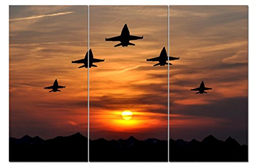 Canvas Wall Art Decor - 12x24 3 Piece Set (Total 24x36 inch)- Multi Airplane View - Decorative & Modern Three Panel Split Canvas Prints for Dining & Living Room, Kitchen, Bedroom, Bathroom & Office