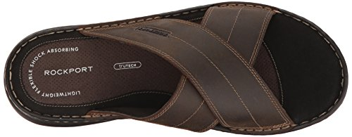 Rockport Mens Darwyn Xband Slide Sandal, Brown Leather, 7 M US