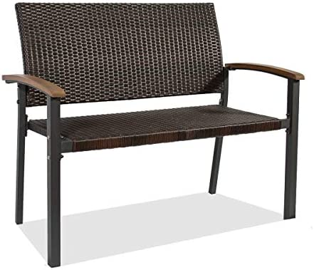June Win Garden Bench Outdoor Bench Yard Bench Park Bench Patio Metal Rattan Bench