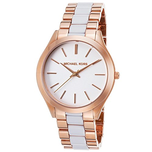 (Michael Kors Women's Slim Runway 42mm Two Tone Steel Bracelet & Case Quartz White Dial Analog Watch MK4311)