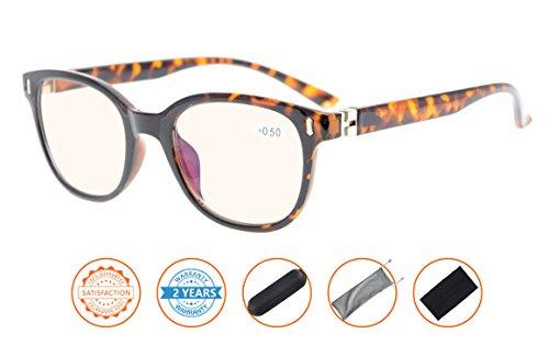 UV Protection,Anti Blue Rays,Spring Hinges Computer Reading Glasses Men Women(Tortoiseshell,Amber Tinted Lenses) - Tortoiseshell Glasses