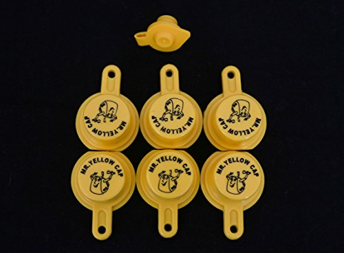 Yellow Gas Can Cap That Fits Your Vintage Blitz Spout - 6 Single Caps & 1 FREE - Cans Fuel Blitz
