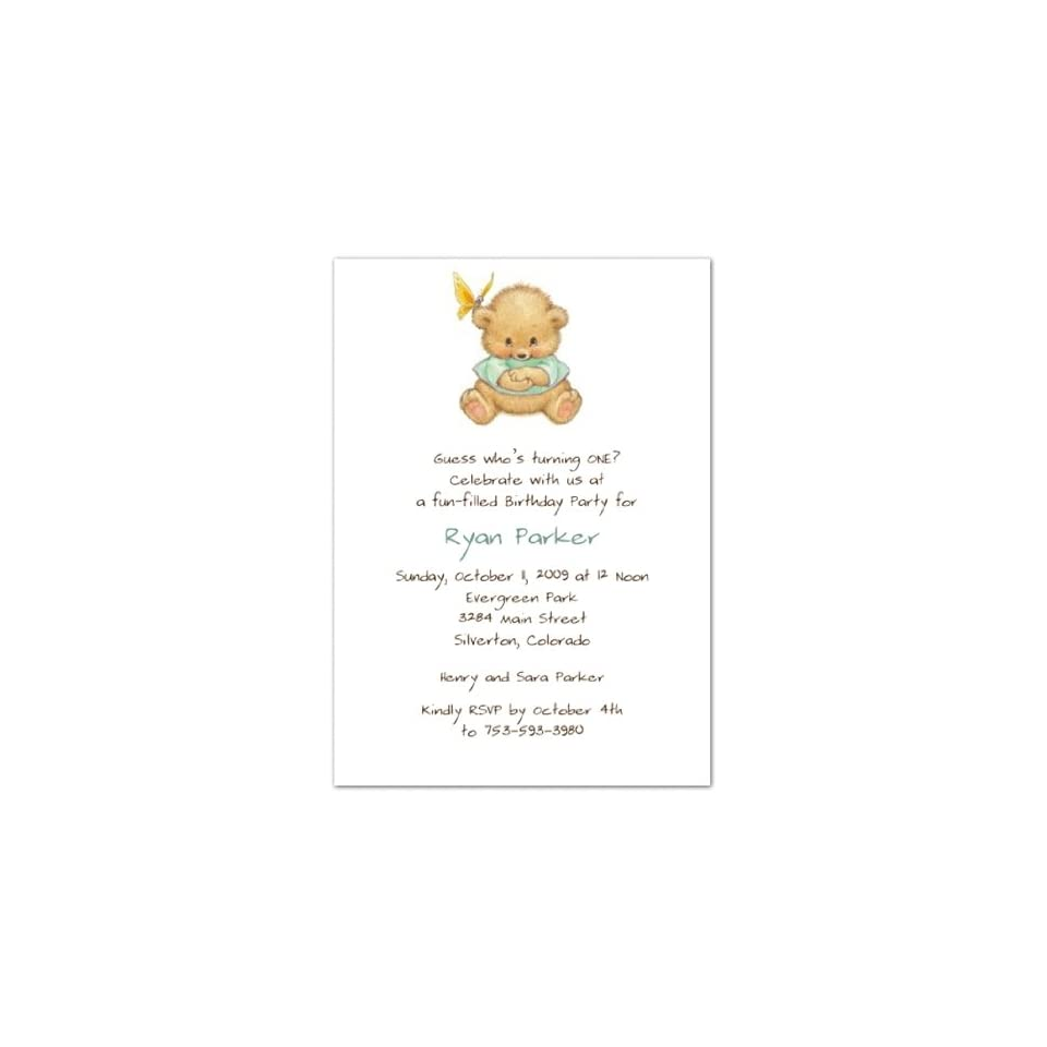 Special Surprise Green 1st Birthday Invitations   Set of 20