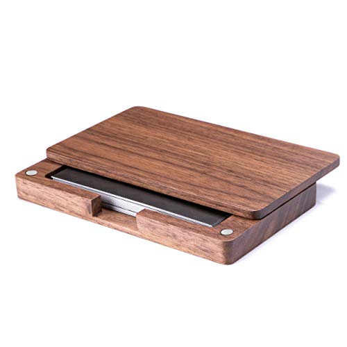 iness Card Holder Wood Business Card Case Vegan Business Name Card Holder Wooden Business Card Holder Case with Magnetic Shuts for Women Men ()