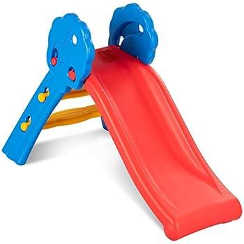 Costzon Folding Slide, Indoor First Slide Plastic Play Slide Climber Kids  (Floral Rail)