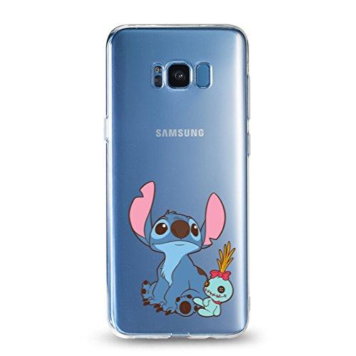 Galaxy S8 Case, Stitch Look up to The Sky Cartoon Design 3D Printed Soft Clear TPU Cute Case