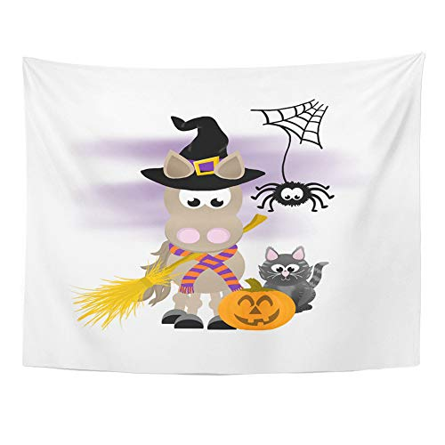 Emvency Tapestry Polyester Fabric Print Home Decor Cartoon Horse Celebrating Halloween Wearing Witch Hat and Striped Scarf Holding Wall Hanging Tapestry for Living Room Bedroom Dorm 60x80 Inches for $<!--$22.90-->