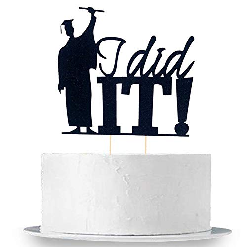 Graduation Cake Topper (Graduation Cake Topper Decorations - Large Size, I Did It - Grad Holding Degree with Joy of Scuess | Graduation Cake Toppers 2019 - Graduation Cake Decorations - Graduation Party)
