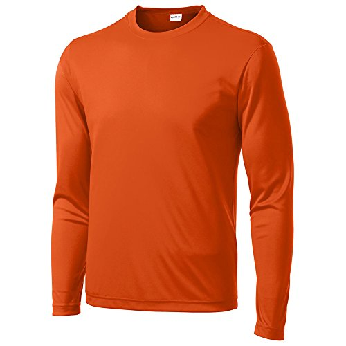 Clothe Co. Mens Long Sleeve Moisture Wicking Athletic Sport Training T-Shirt, M, Deep Orange