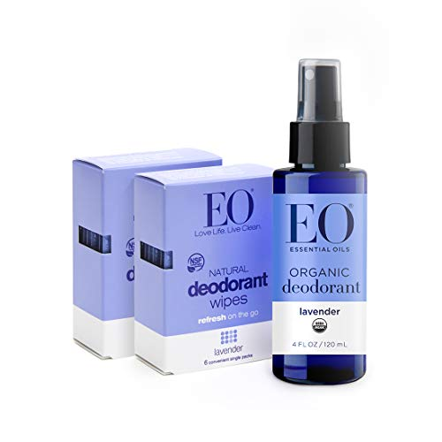 EO Organic Aluminum Free Deodorant Spray and Wipes Combo Pack, Lavender, 3 Count