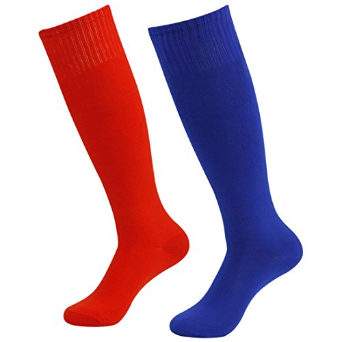 Solid Color Knee Socks - Fasoar Men's Women's Breathable Knee High Socks Solid Color Rugby Socks Pack of 2 Red Blue  2 pack red blue  One Size