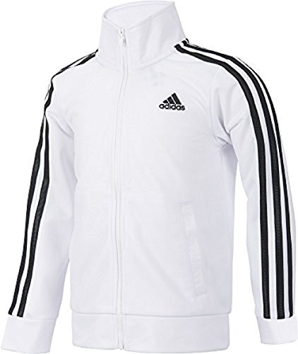 adidas Girls 7-16 Warm up Tricot Track Jacket (Small, White)
