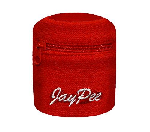JayPee 2er Set Funktions-Schweißband mit Fach Tasche & Reißverschluss / sport Wristband Rot (Red)