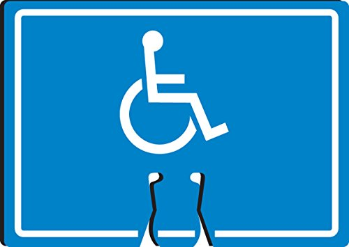 """Accuform Signs FBC797 Plastic Traffic Cone Top Warning Sign, Legend """"WHEELCHAIR SYMBOL"""", 10"""" Length x 14"""" Width x 0.060"""" Thickness, White on Blue"""