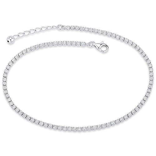 NYC Sterling Women Sterling Silver Cubic Zirconia Anklet Bracelet (Silver)