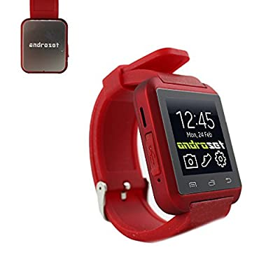 ANDROSET Universal Bluetooth Smartwatch for Android/IOS Touch Screen Smart Phone Mate - RED
