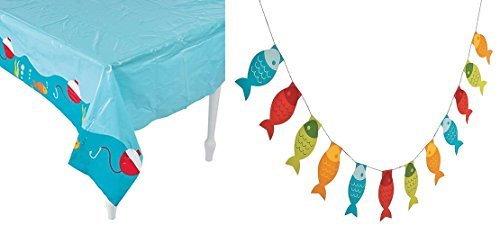 Fun Express Fisherman party set- ONE Table cover and (ONE) Little Fisherman Fish Pennant Banner - 7 ft