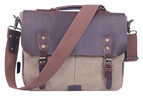 HONEYJOY Leather Vintage Canvas Satchel Messenger Laptop Shoulder Crossbody Sling Bag (14