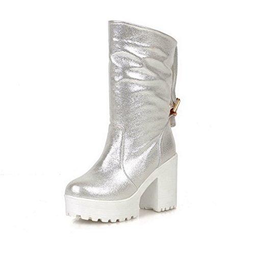AgooLar Damen Rein Rund Zehe Blend Materialien Stiefel