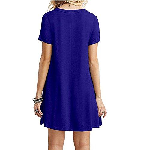 Taille Grande Chemise Femme Longue Midi Manche Rond Semen Et Tunique Col Robe Court Casual Bleu Elastique Loose Printemps Fille Uni Basique zETEaq