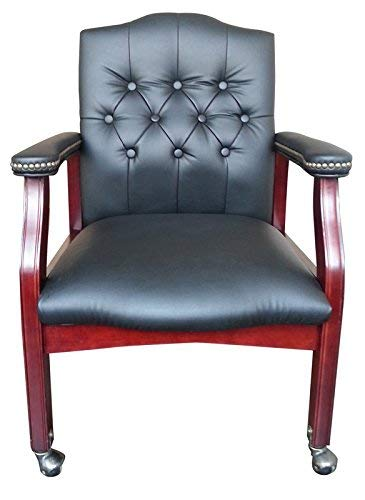 Boss Office Products B958M-BK Traditional Caressoft Guest Chair with Mahogany Finish in Black