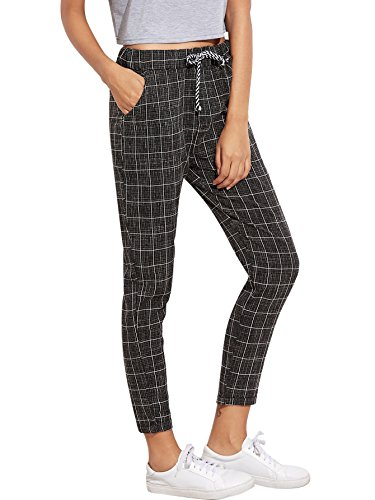 SweatyRocks Women's Drawstring Waist Striped Casual Capris Pants with Pockets (Small, Black#1) (Womens Plaid Pants)