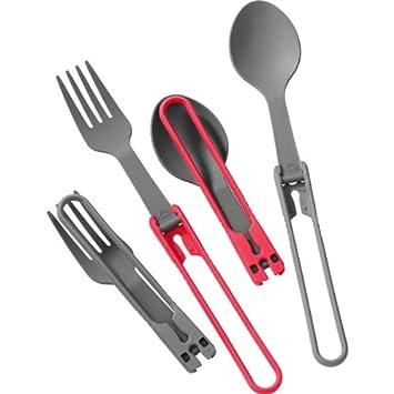 MSR plegable - Cubertería de 2 tenedores y 2 cucharas en rojo y gris: Amazon.es: Deportes y aire libre