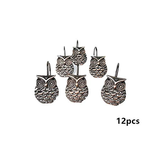 leoyoubei Waterproof and durable Zinc alloy animal owl antique single hook Rustproof curtain hook/dressing room hook/shower hooks12 Pack (bronze) by leoyoubei