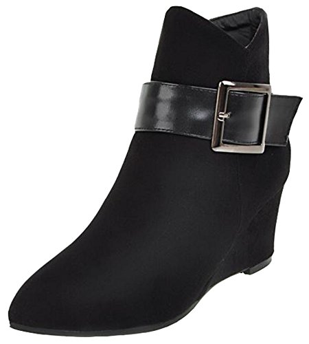 1175a92d0c3 IDIFU Womens Vintage Buckle Mid Wedge Heels Ankle Boots Faux Suede Booties  With Side Zipper Black D3BRwLL