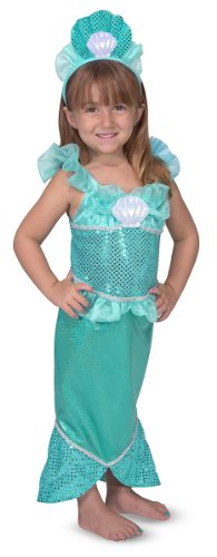 Costume Halloween Quiz (Melissa & Doug Mermaid Role Play Costume Set - Gown With Flared Tail, Seashell)