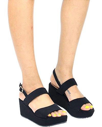 Bamboo Womens Soft Comfort Open Toe Summer/Spring Wedge Sandals Black nx5i3hkgu