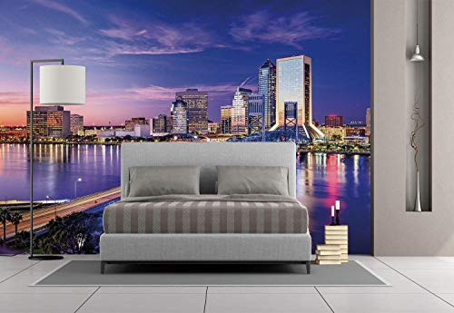 Funky Wall Mural Sticker [ United States,Jacksonville Florida Skyline Vibrant Night St. Johns River Scenic,Royal Blue Light Pink ] Self-Adhesive Vinyl Wallpaper/Removable Modern Decorating Wall Art ()