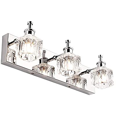 PRESDE Vanity Lights Bathroom Fixture Over Mirror 3 Lights LED Modern Chrome Fixtures Crystal Glass Globe - ✔MODERN&ELEGANT DESIIGN : Lamp Shade Direction Is Adjustable. Luxury& High-end Bathroom Vanity Lights makes it durable decoration for your home. ✔HIGH QUALITY MATERIAL:Premium Transparent Crystal Glass Lampshades with Mirror Chrome Stainless Steel ,Waterproof & rust-proof , Ensure a long life using. ✔EASY TO INSTALL: Includes all mounting hardware,No Need Any Assembly ,Just Connect The Power Cord Directly. No Switch On the Lamp.Suitable US Junction Box Standard. - bathroom-lights, bathroom-fixtures-hardware, bathroom - 41lJntBlLLL. SS400  -