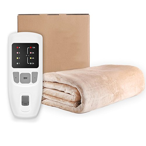 GX&XD Heated blanket,Heated electric blanket Double control Thermostat Electric throw Timing safety Household use Radiation Plush heated throw-A 80x180cm(31x71inch)