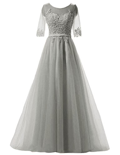 Of Long Dresses Prom House Ah004 Belle Dresses Mother For With Brides gray Neck Sheer Women The z5BCqwxC
