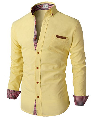 H2H Mens Casual Slim Fit Oxford Button Down Shirt with Leather Pointed Pocket YELLOW US L/Asia XL (CMTSTL0103)