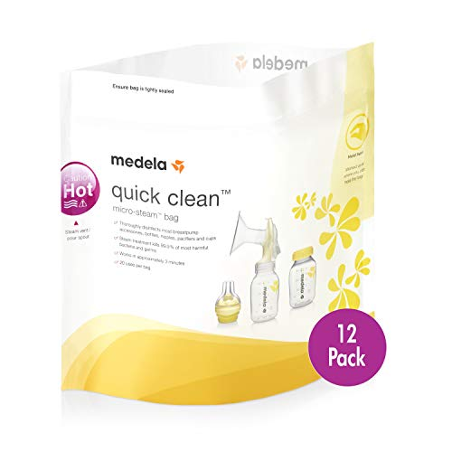 Medela Quick Clean Micro-Steam Bags, 12Count Sterilizing Bags for Bottles & Breast Pump Parts, Eliminates 99.9% of Common Bacteria & Germs, Disinfects Most Breastpump Accessories
