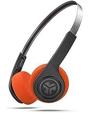 JLab Audio Rewind draadloze retro hoofdtelefoon, bluetooth hoofdtelefoon met 12 uur batterijduur, Custom EQ3-geluid, on-ear hoofdtelefoon met microfoon en one-touch-muziekbediening, coole look van 80/90 stuks, zwart