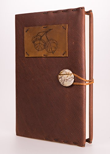Refillable Aspen Leaf Leather Journal with Picasso Jasper Concho + 220 Blank Pages 5.5