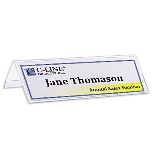 C-Line Plastic Name Tent Holders, 2-1/2 x 8-1/2 Inches, Clear, Pack of 25 (87597)
