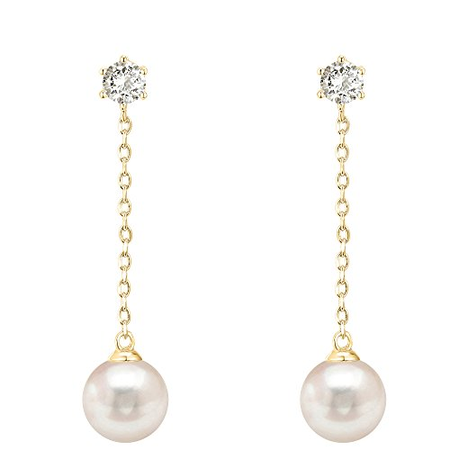 PAVOI 14k Yellow Gold Plated Sterling Silver Post Shell Pearl Drop Earrings | Pearl Earrings for Women ()