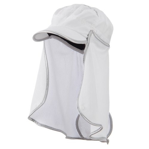 UV 50+ Talson Removable Flap Fidel Cap - White OSFM